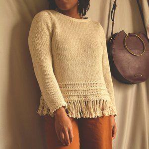 Tan Ann Taylor Fringe Knit Sweater |S|